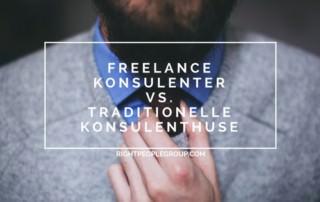 Tekst med titel: freelance konsulenter vs traditionelle konsulenthuse